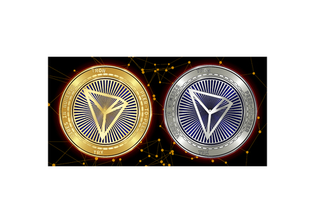 Golden and silver Tron (TRX) cryptocurrency coins on blockchain black background. Tron (TRX) cryptocoin concept. Schematic black blockchain