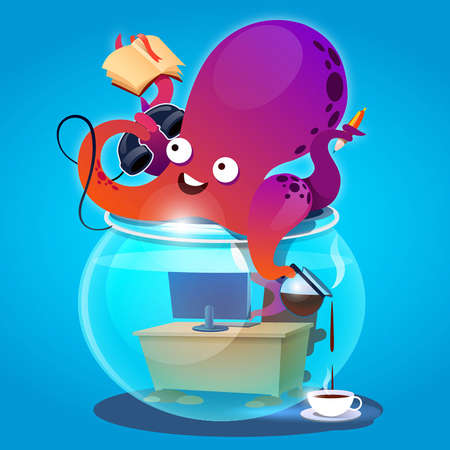 Octopus in the aquarium drinking coffee and talking on the phone