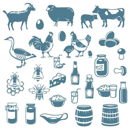 iconen van vee en voedsel van de boerderij