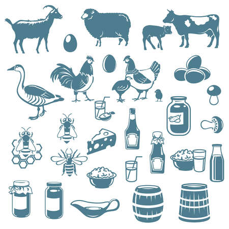 milk cans: icons of livestock and food from the farm Illustration