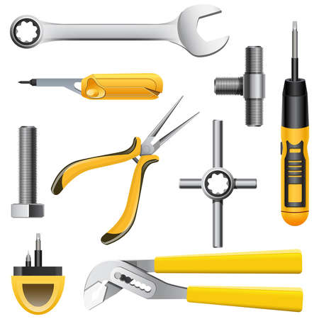 set of yellow tools of metal Stock Vector - 20900979