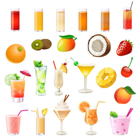 different cocktails, drinks, fruits and berries Vector