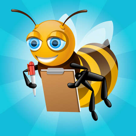 honingbij schrijft op papier en glimlachen Stock Illustratie