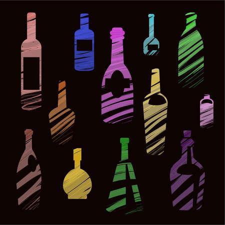 wijn en cognac flessen op een zwarte achtergrond, geschilderd met een kwast