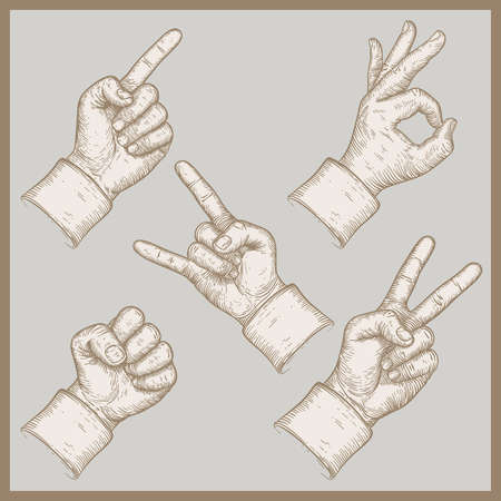 handbreadth: illustration of five hands