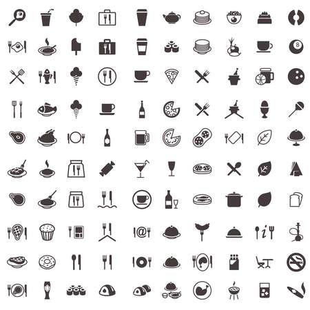 iconen van voedsel, snoep, vlees, dranken en andere
