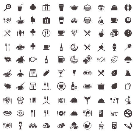 Symbole von Lebensmitteln, Süßigkeiten, Fleisch, Getränke und andere Standard-Bild - 21847509