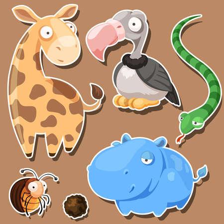 five funny cartoon African animals Illustration