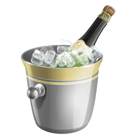 a bottle of champagne in an ice bucket  Vector