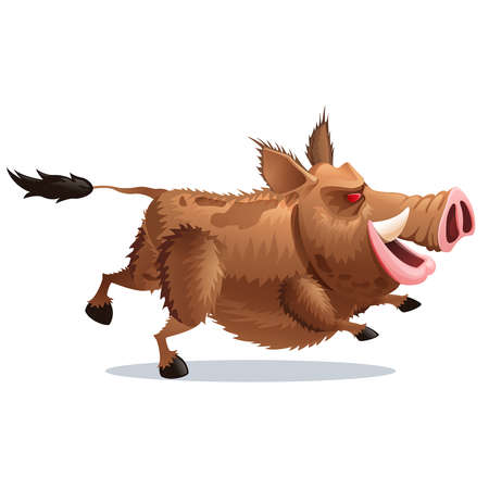 wild hair: running wild boar in a cartoon style on a white background
