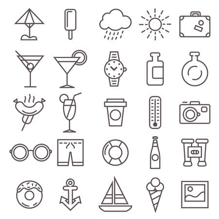 the set of twenty five recreation icons Illustration