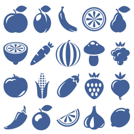 isolated icon of vegetables and fruits on white background