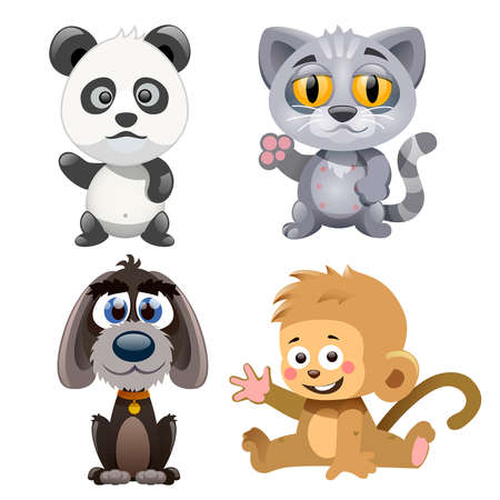 four cute and funny animals on a white background