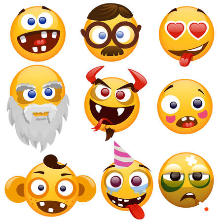 set of smiling faces on a white background 일러스트