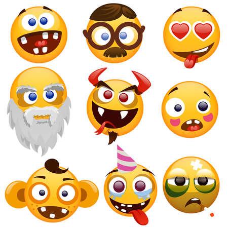 conjunto: conjunto de caras sonrientes sobre un fondo blanco