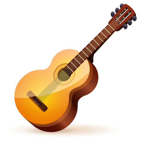 brown wooden acoustic guitar on white background