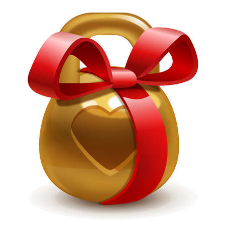 golden gift kettlebell with a bow on a white background