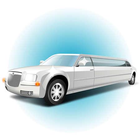 lange witte auto op een witte achtergrond Stock Illustratie