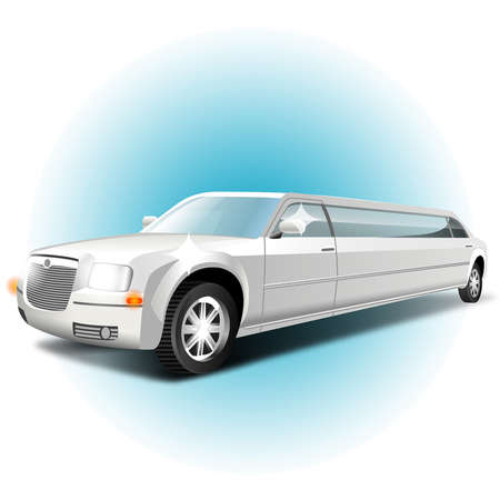 long white car on a white background