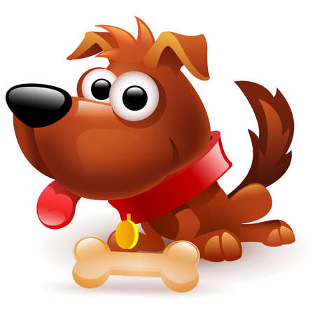 funny brown dog with bone on white background