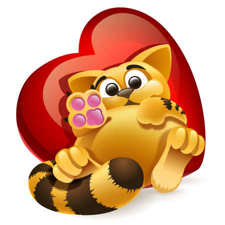 cat lying on a background of heart Illustration