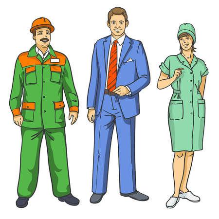 drie mensen van verschillende beroepen in uniform op een witte achtergrond