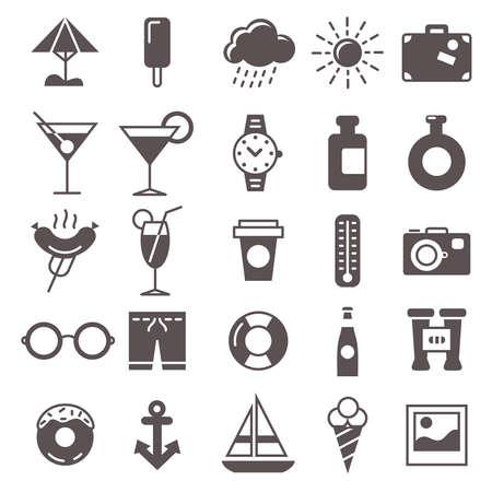 de set van vijfentwintig recreatie pictogrammen