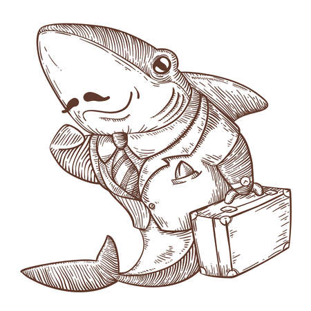 successful business shark painted in the style of engraving