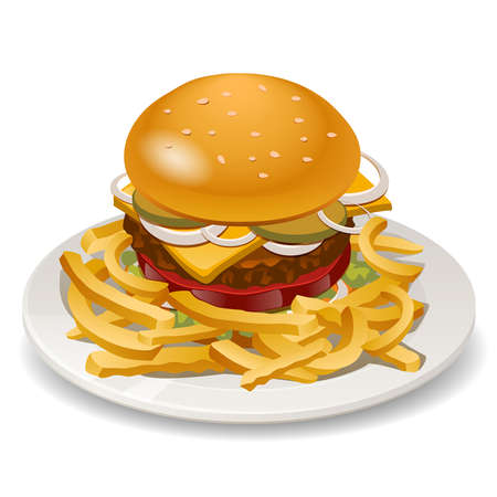 aperitif: illustration of burger with fries, tomato, onion and cheese