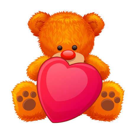 soft toy: red teddy bear with a big red heart in his paws Illustration