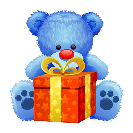 blue teddy bear with a big present in his paws
