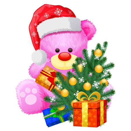 pink teddy bear with a christmas tree in his paws