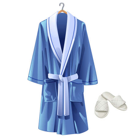 specific clothing: vector blue bathrobe and white slippers on white background Illustration