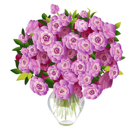 bouquet of pink flowers in a glass vase on a white background Illustration