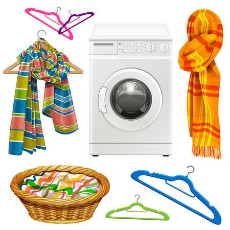 handdoek, sjaal, mand, hangers en een wasmachine op een witte achtergrond