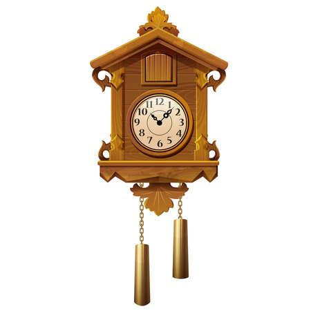 cuckoo clock: ilustraci�n vectorial de reloj de cuco de madera de �poca sobre un fondo blanco