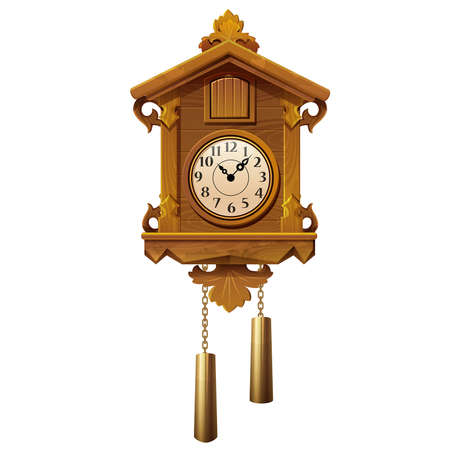 vector illustration of vintage wooden cuckoo clock on a white background Ilustração
