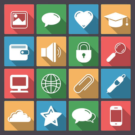 Application set of sixteen icons in flat design for mobile or web Vector