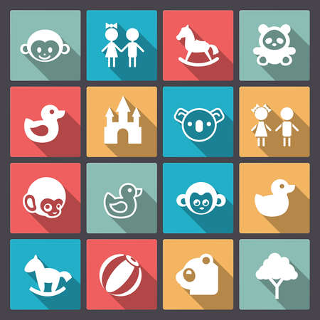 Vector set of sixteen zoo and animals icons in flat design