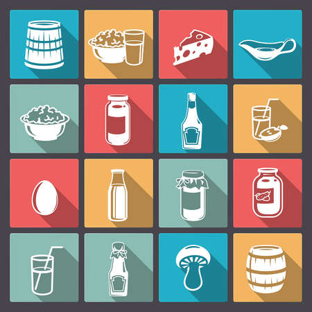 Vector icons of food from the farm in flat design Vector