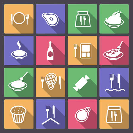 Vector set of food icons in flat design Vector