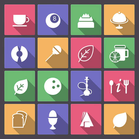 Vector set of food and entertainment icons in flat design Vector