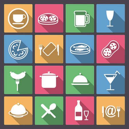 Vector set ofdish en voedsel pictogrammen in vlakke uitvoering Stock Illustratie