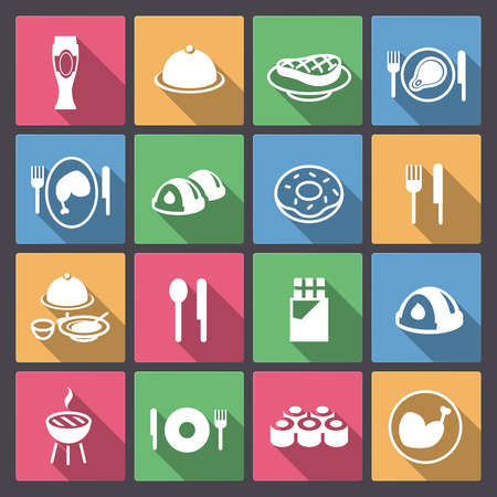 Vector set of grill and sweets icons in flat design Vector