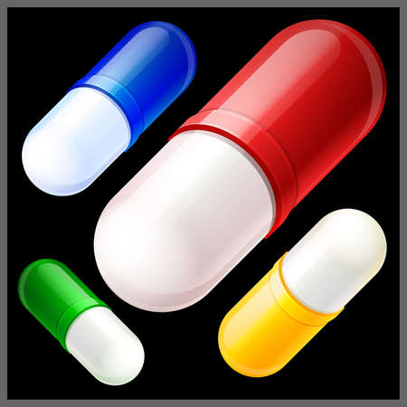 balck:  vector illustration of  red, blue, yellow and green pills on balck background Illustration