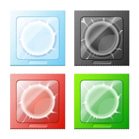 condom: vector illustration of  red, blue, green and black condoms on white background