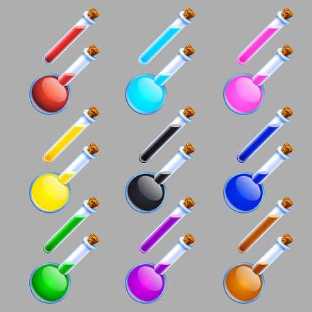 vector illustratie van kleurrijke laboratorium kolven en buizen op een grijze achtergrond