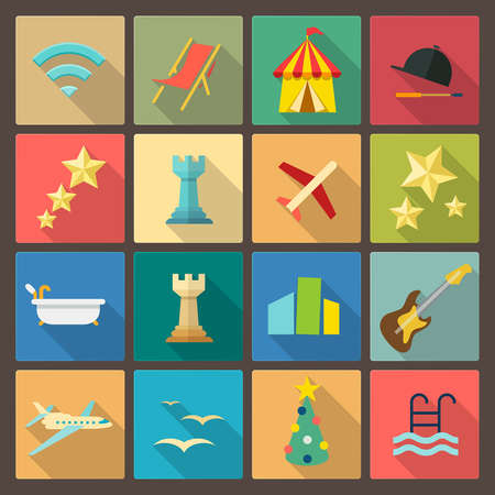 set of sixteen rest and entertainment icons in flat design style Vector