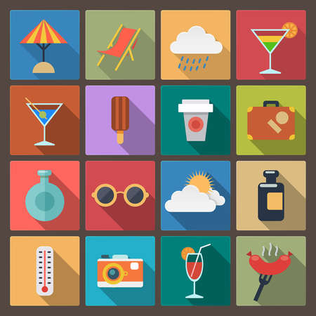 cocktail drink: set of sixteen rest icons in flat design style