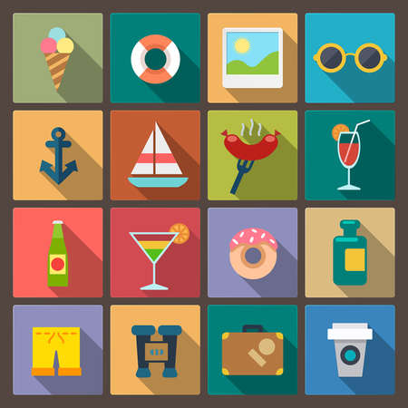 set of sixteen recreation icons in flat design style Illustration